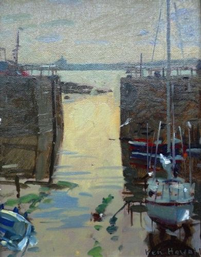 Professor Ken Howard RA The Mousehole Gap oil painting